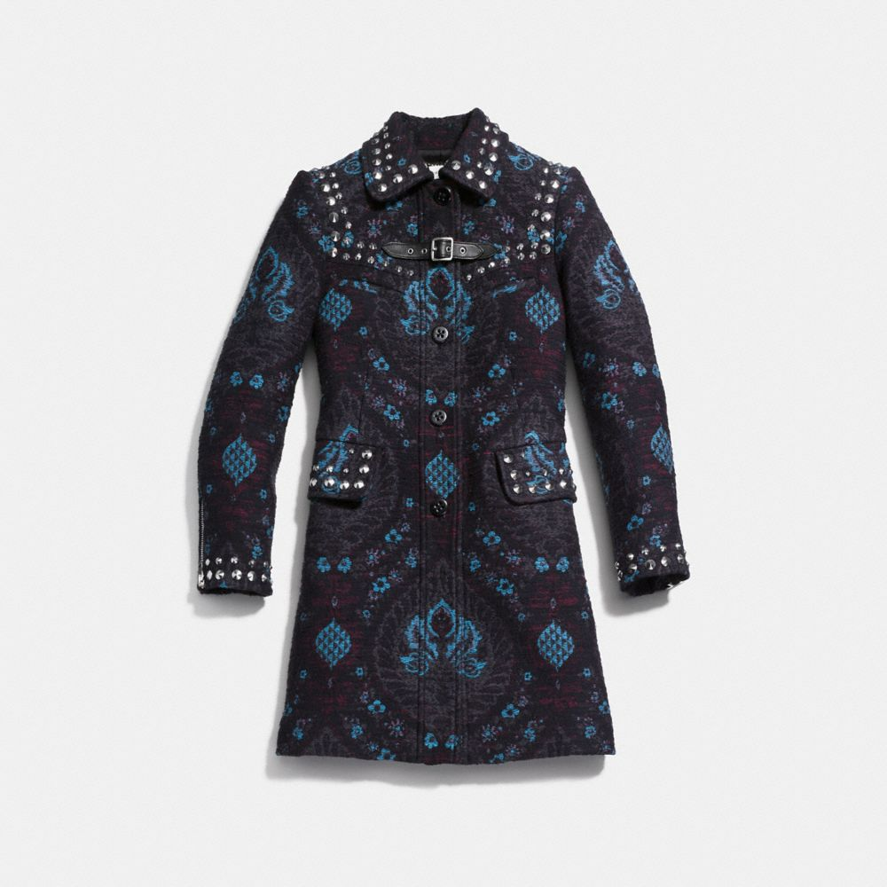 Coach Studded Tapestry Coat Alternate View 1