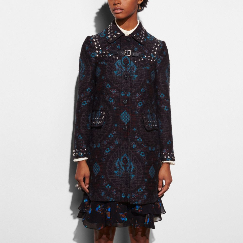 Coach Studded Tapestry Coat Alternate View 2