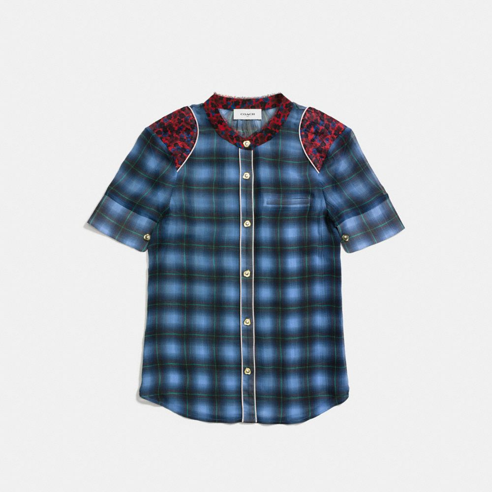 PLAID PIPED BLOUSE - Alternate View