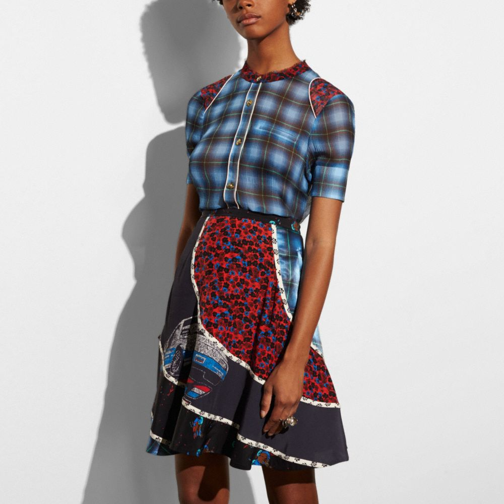 Coach Plaid Piped Blouse Alternate View 2