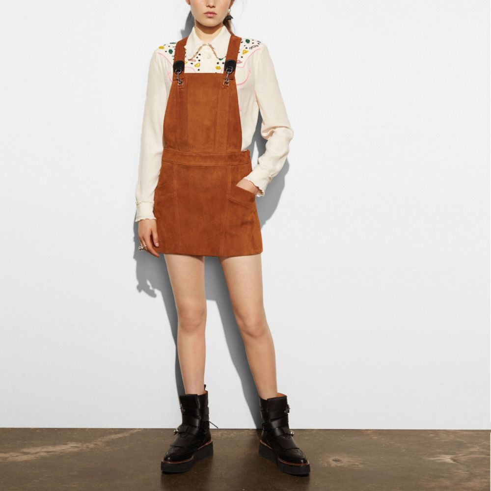 SUEDE PINAFORE DRESS - Alternate View