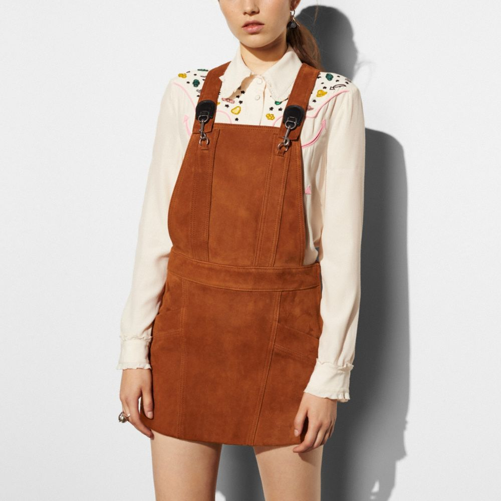 Suede Pinafore Dress - Alternate View M1
