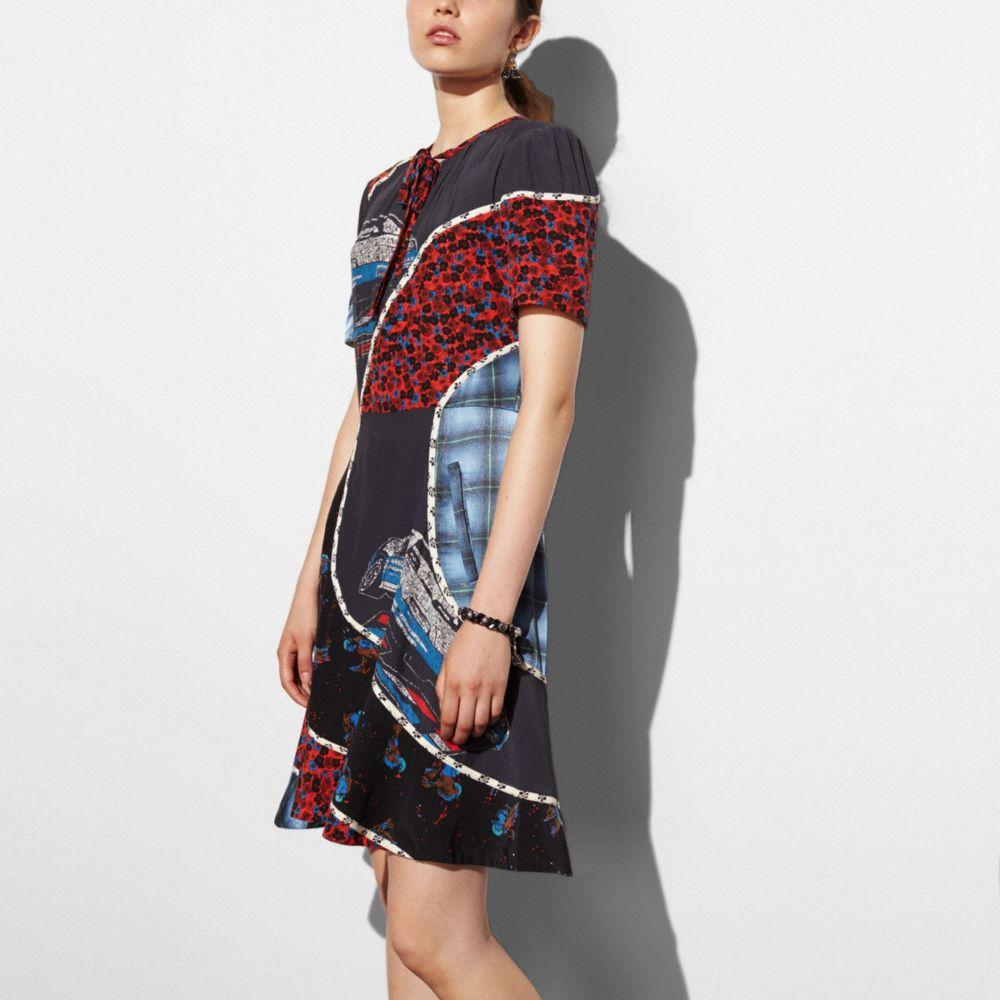 Coach Car Print Circular Patchwork Dress