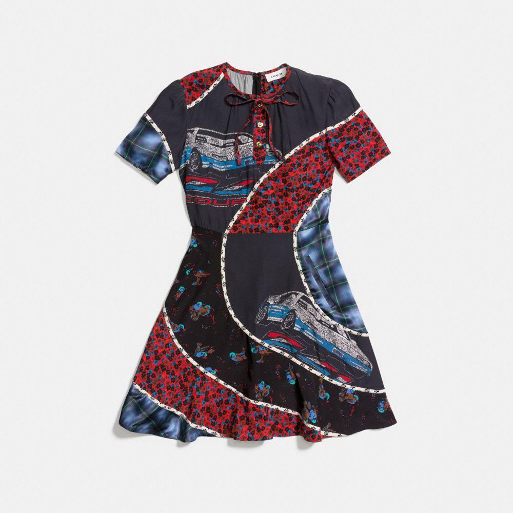 Car Print Circular Patchwork Dress - Alternate View A1