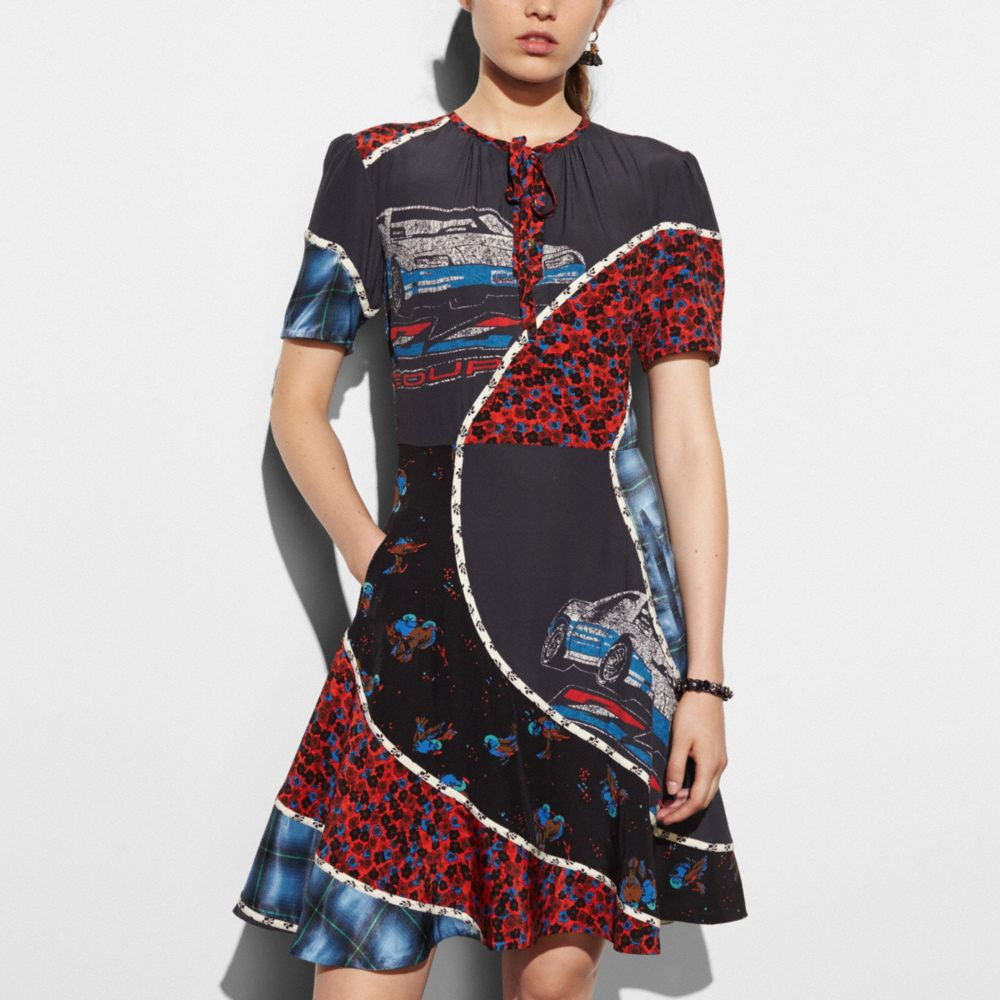 Car Print Circular Patchwork Dress - Alternate View M1