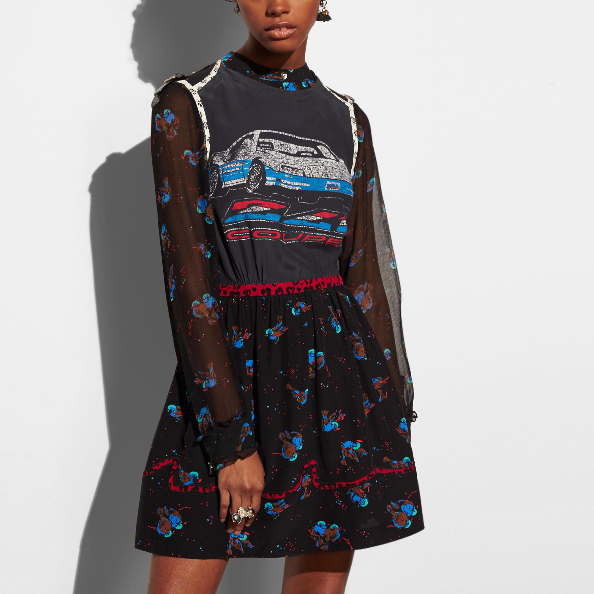 Coach Car Patchwork Print Dress