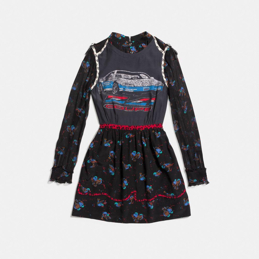 Car Patchwork Print Dress - Alternate View A1