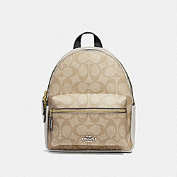 MINI CHARLIE BACKPACK IN SIGNATURE CANVAS - IM/LIGHT KHAKI/CHALK - COACH 58315