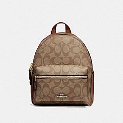 MINI CHARLIE BACKPACK IN SIGNATURE CANVAS - IM/KHAKI SADDLE 2 - COACH 58315