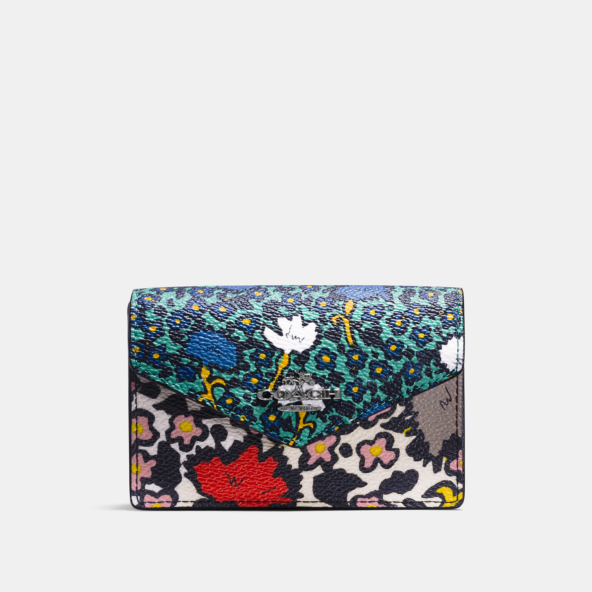 Coach Envelope Card Case In Yankee Floral Print Canvas