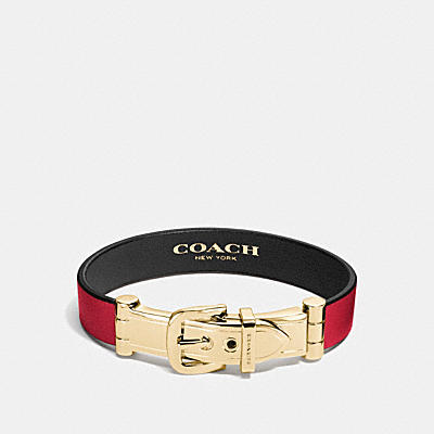 WIDE TWO TONE GLOVETANNED LEATHER BUCKLE BRACELET