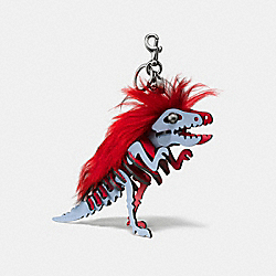 MEDIUM MOHAWK REXY BAG CHARM - BK/CORNFLOWER RED - COACH 58498