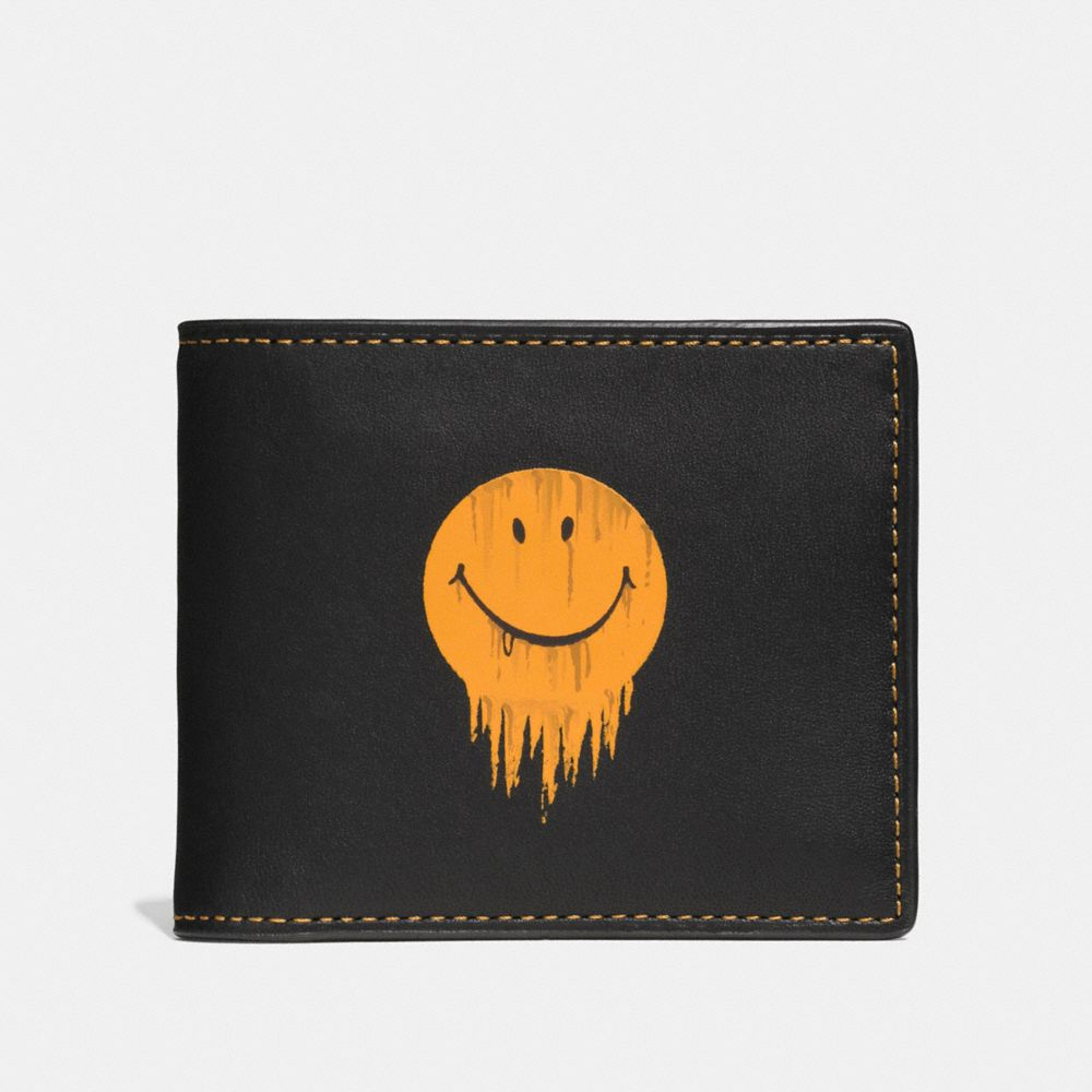 3-IN-1 WALLET IN GLOVETANNED LEATHER WITH GNARLY FACE PRINT