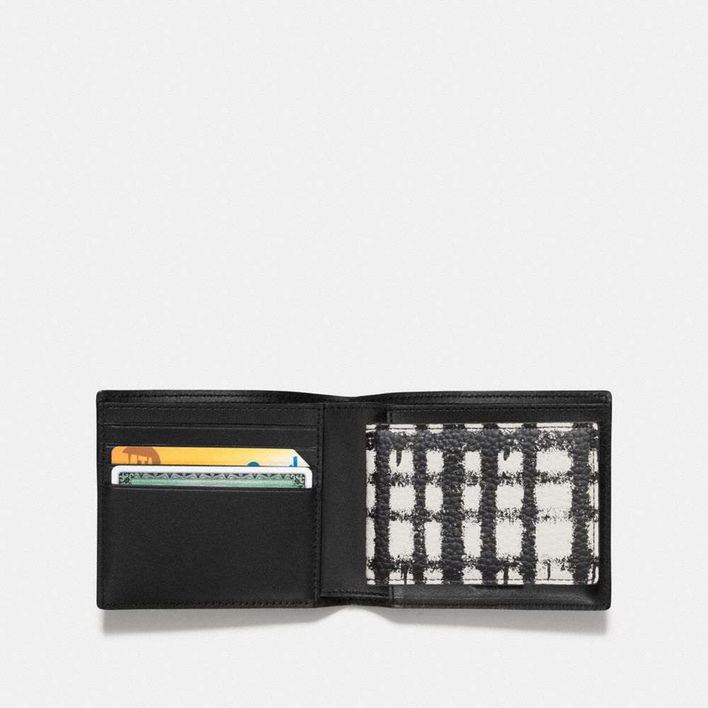 3-IN-1 WALLET IN PEBBLE LEATHER WITH WILD PLAID PRINT - Alternate View