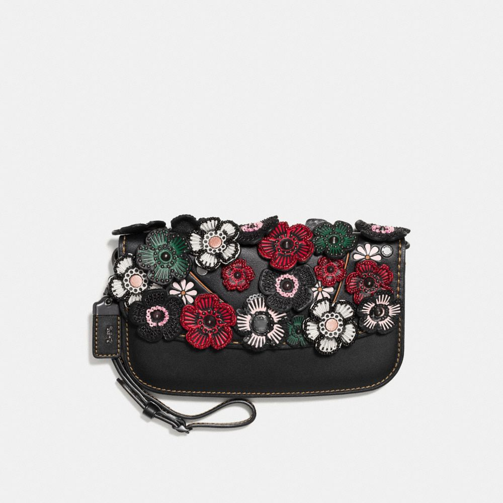 SMALL CLUTCH WITH TEA ROSE APPLIQUE - Alternate View