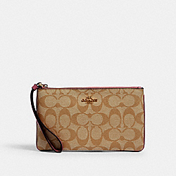 LARGE WRISTLET IN SIGNATURE CANVAS - IM/LIGHT KHAKI ROSE - COACH 58695