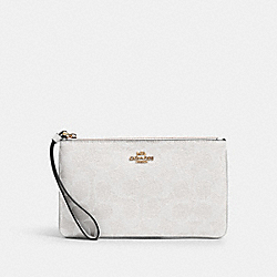 LARGE WRISTLET IN SIGNATURE CANVAS - IM/CHALK/GLACIERWHITE - COACH 58695