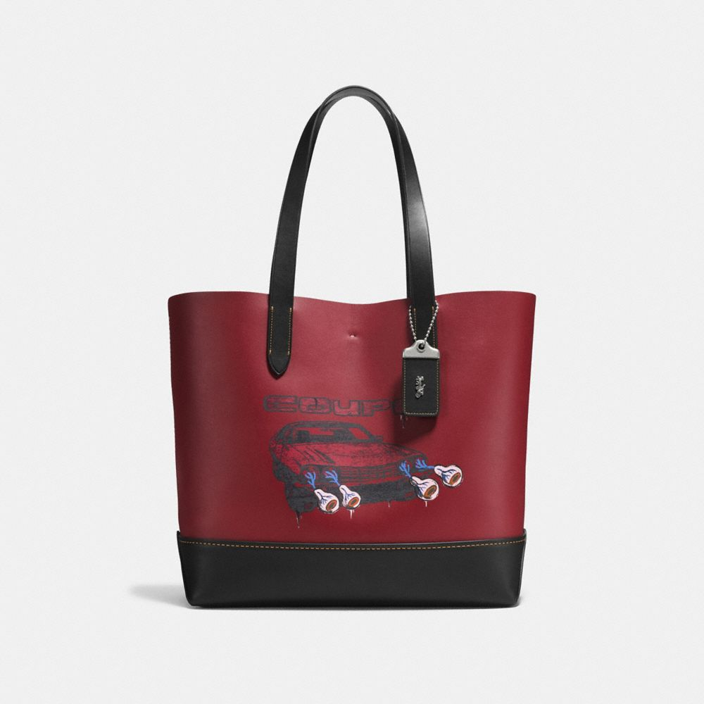 GOTHAM TOTE IN GLOVE CALF LEATHER WITH WILD CAR PRINT - Alternate View