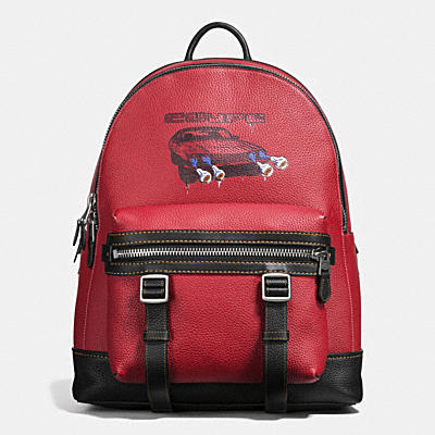 FLAG BACKPACK IN WILD CAR PRINT PEBBLE LEATHER