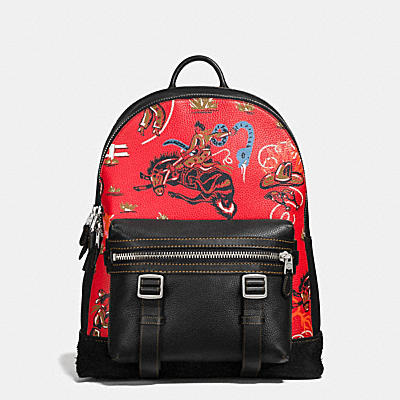 FLAG BACKPACK IN WILD WESTERN PRINT PEBBLE LEATHER