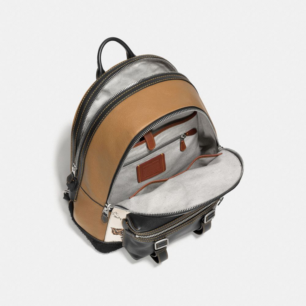 FLAG BACKPACK IN FOX AND BUNNY PRINT PEBBLE LEATHER - Alternate View