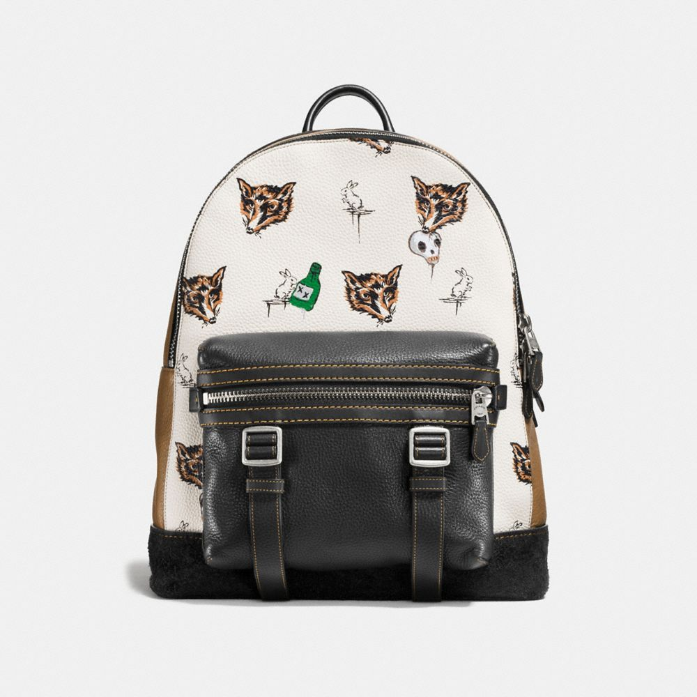 Flag Backpack in Fox and Bunny Print Pebble Leather