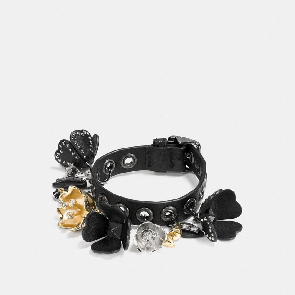 Leather Eyelet Tea Rose Charm Bracelet