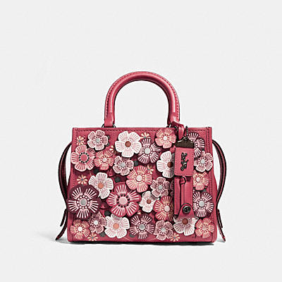 ROGUE 25茶香玫瑰立體貼花皮革手袋