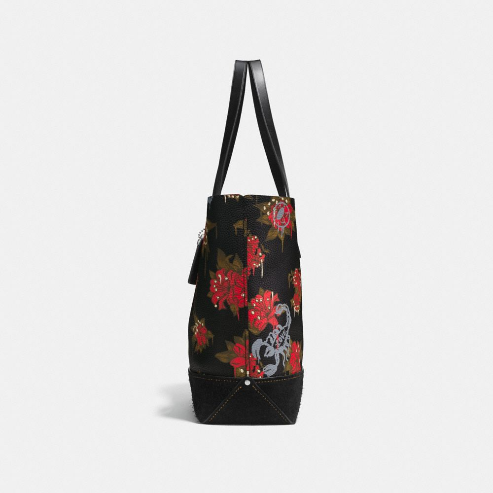 Gotham Tote in Pebble Leather With Wild Lily Print - Alternate View A1