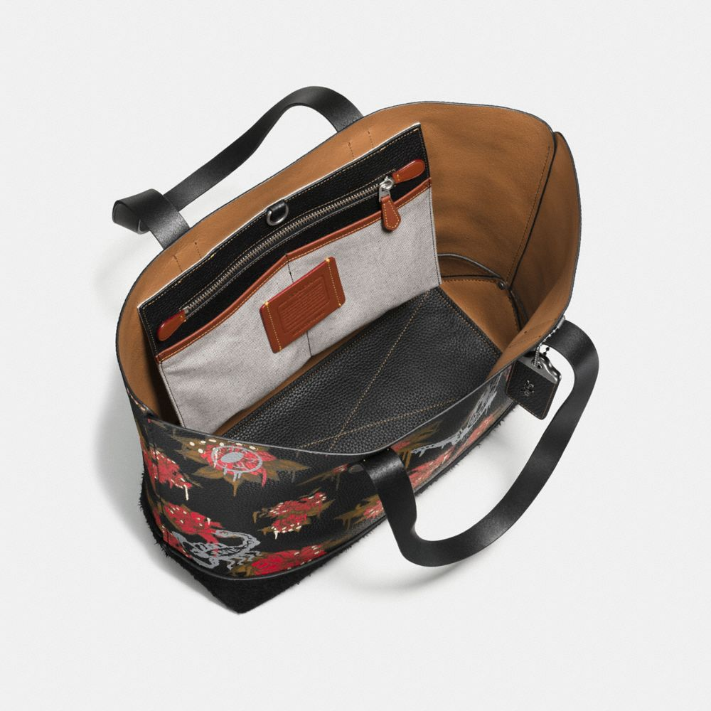 GOTHAM TOTE IN PEBBLE LEATHER WITH WILD LILY PRINT - Alternate View