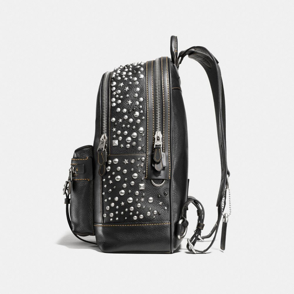 Flag Backpack in Pebble Leather With Studs - Alternate View A1