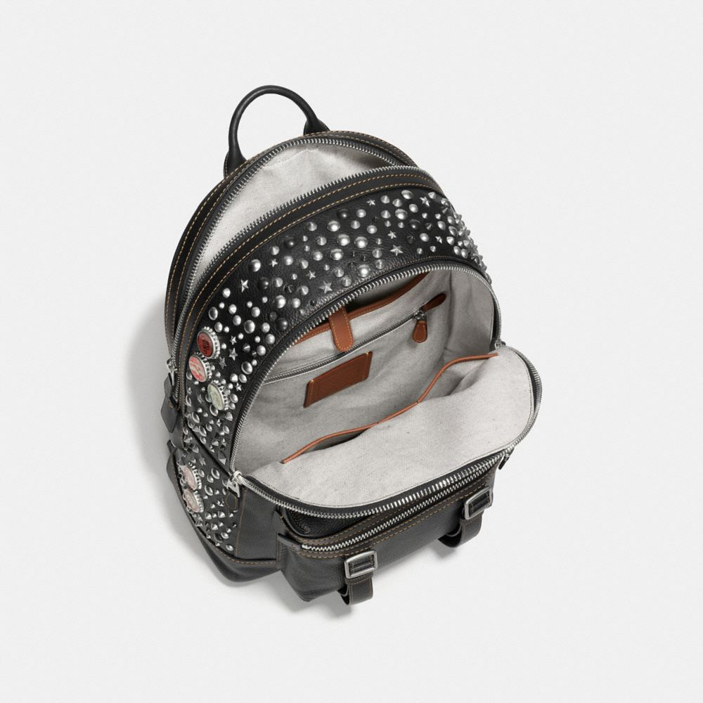 FLAG BACKPACK IN PEBBLE LEATHER WITH STUDS - Alternate View