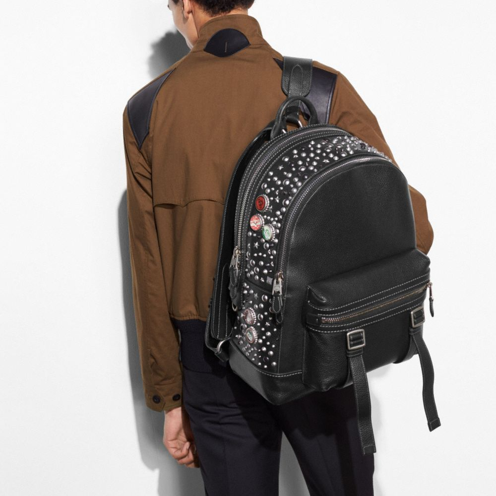 Coach Flag Backpack in Pebble Leather With Studs Alternate View 3