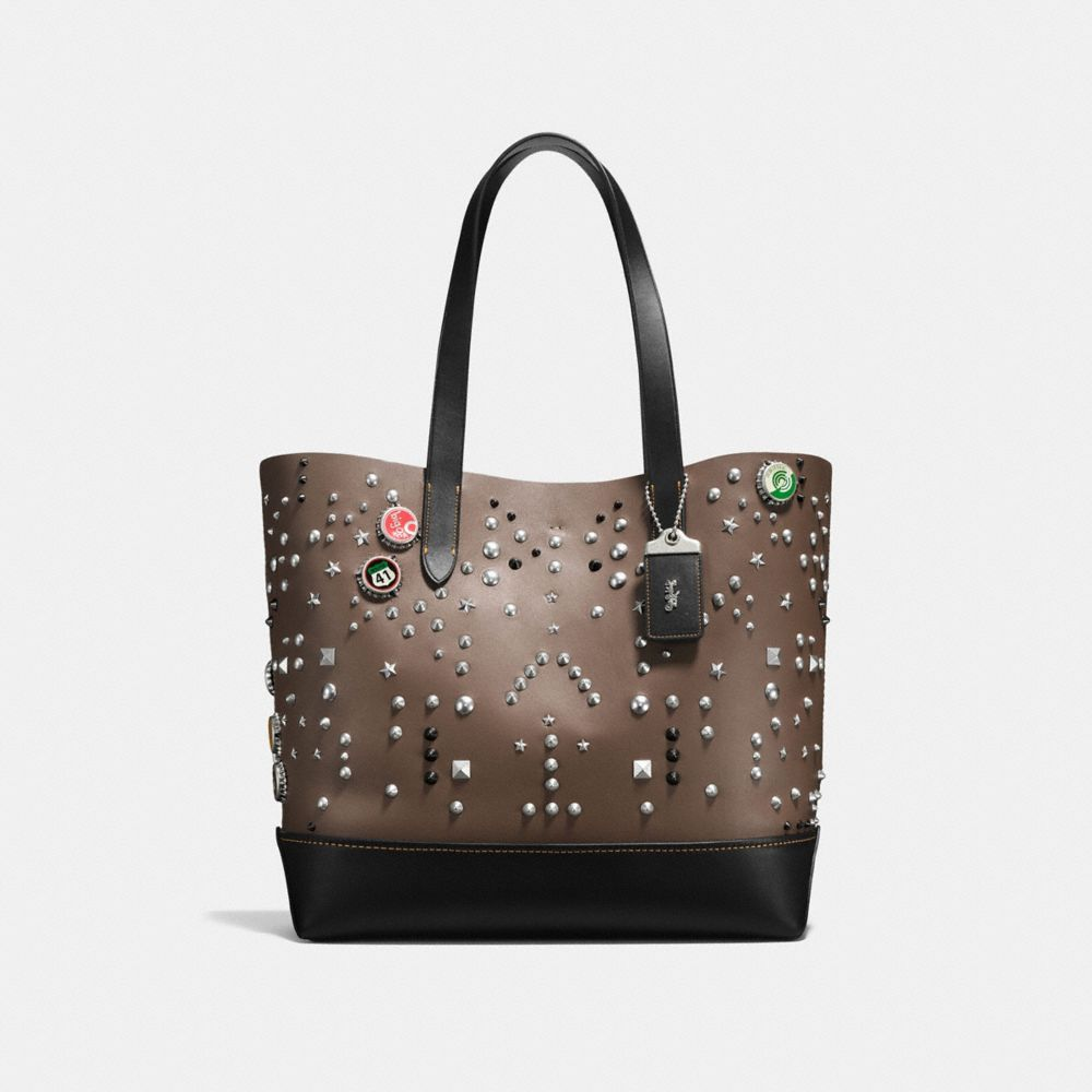 GOTHAM TOTE IN GLOVE CALF LEATHER WITH STUDS - Alternate View