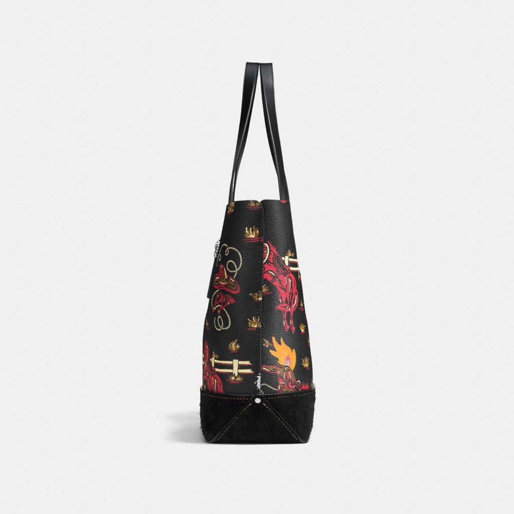 Gotham Tote in Pebble Leather With Wild Western Print - Alternate View A1