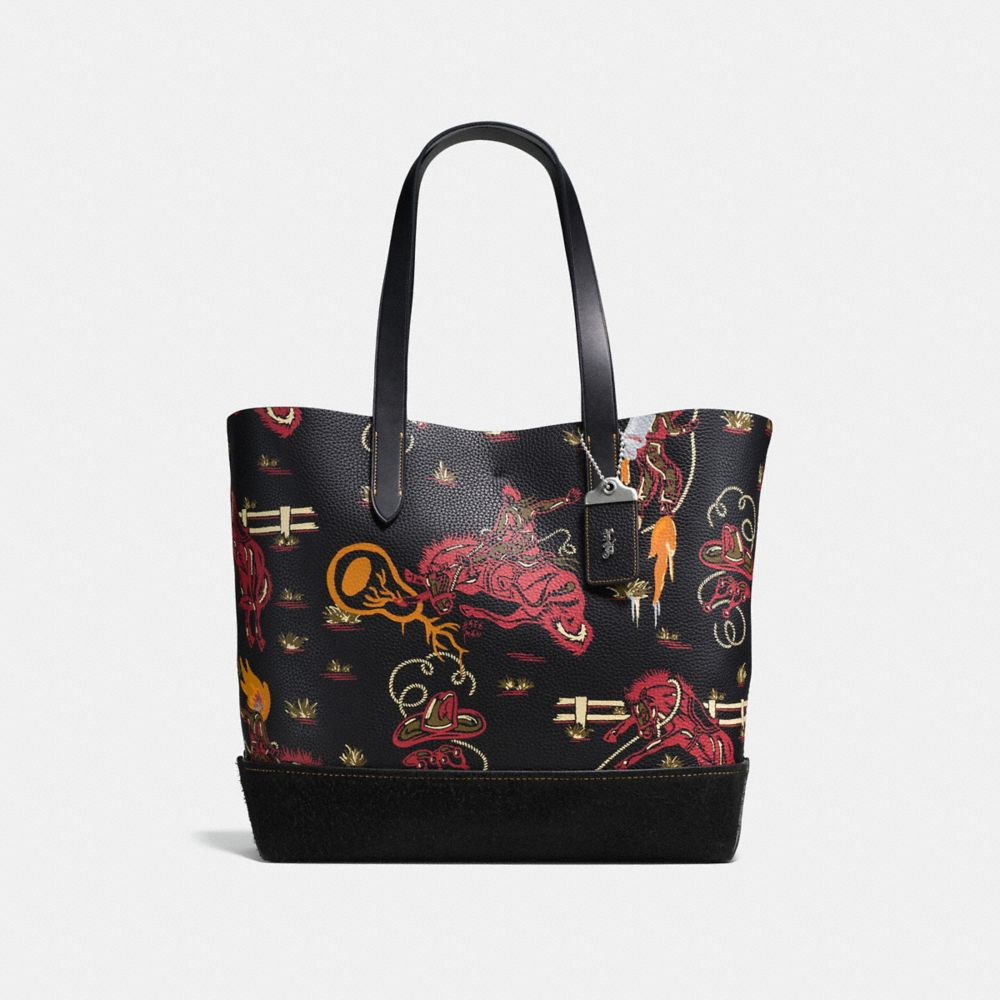 Coach Gotham Tote in Pebble Leather With Wild Western Print
