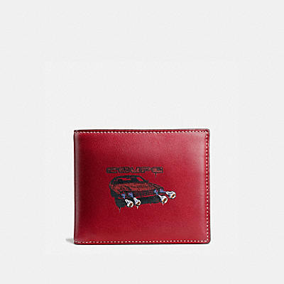3-IN-1 WALLET IN GLOVETANNED LEATHER WITH WILD CAR PRINT