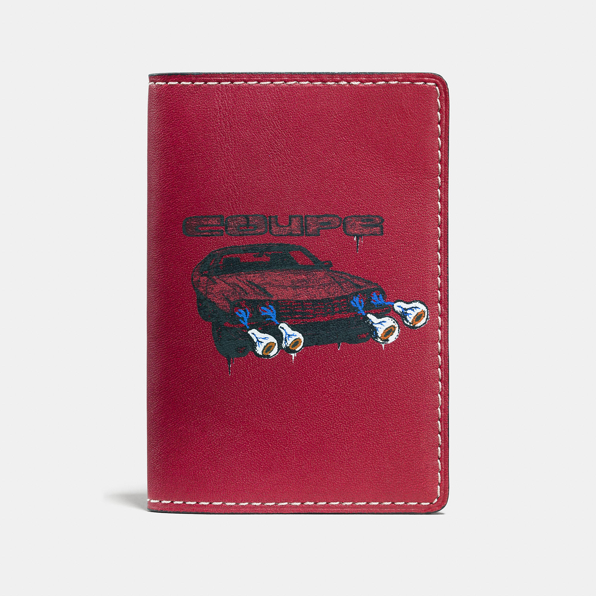 Coach Card Wallet In Glovetanned Leather With Wild Car Print