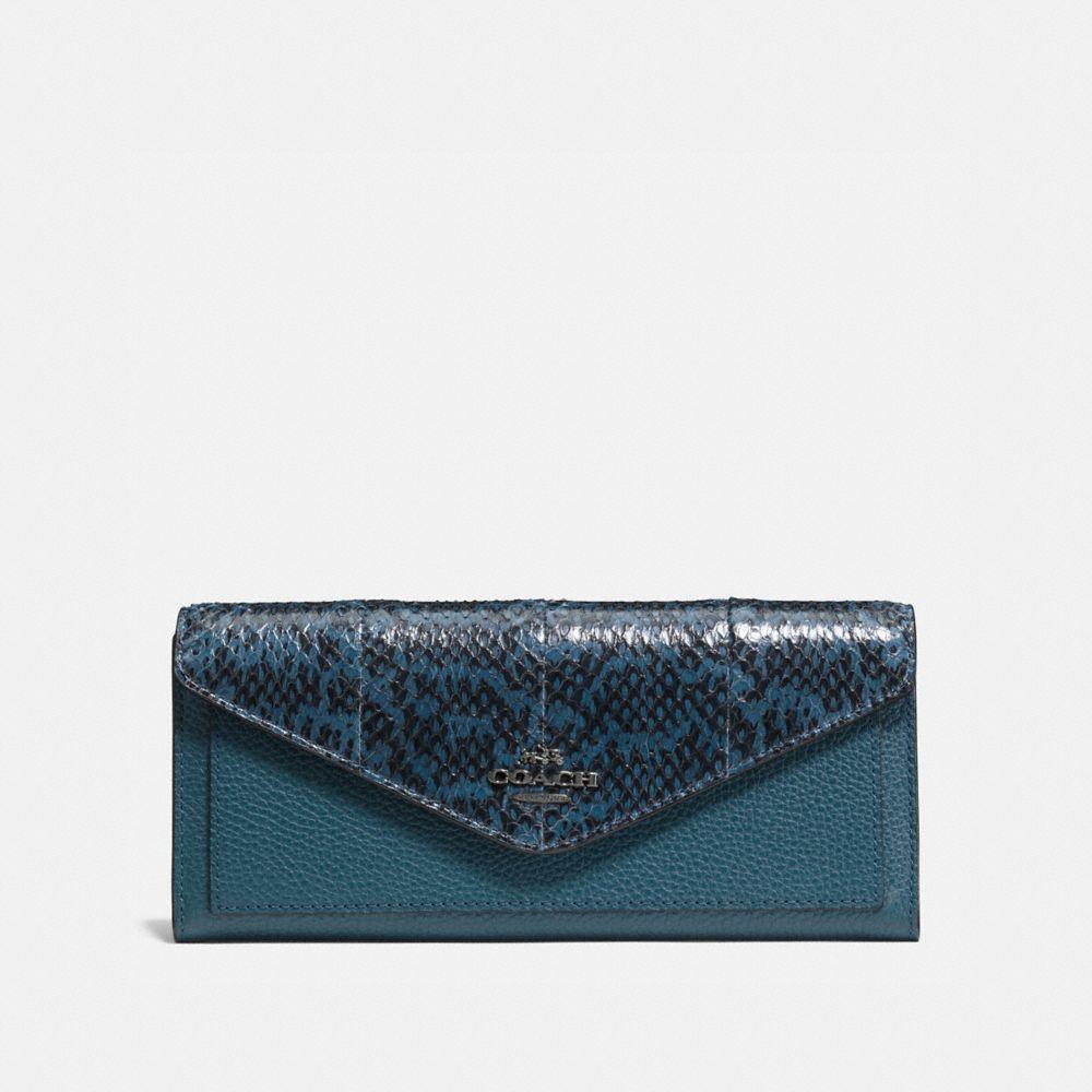 Coach Soft Wallet in Colorblock Snakeskin