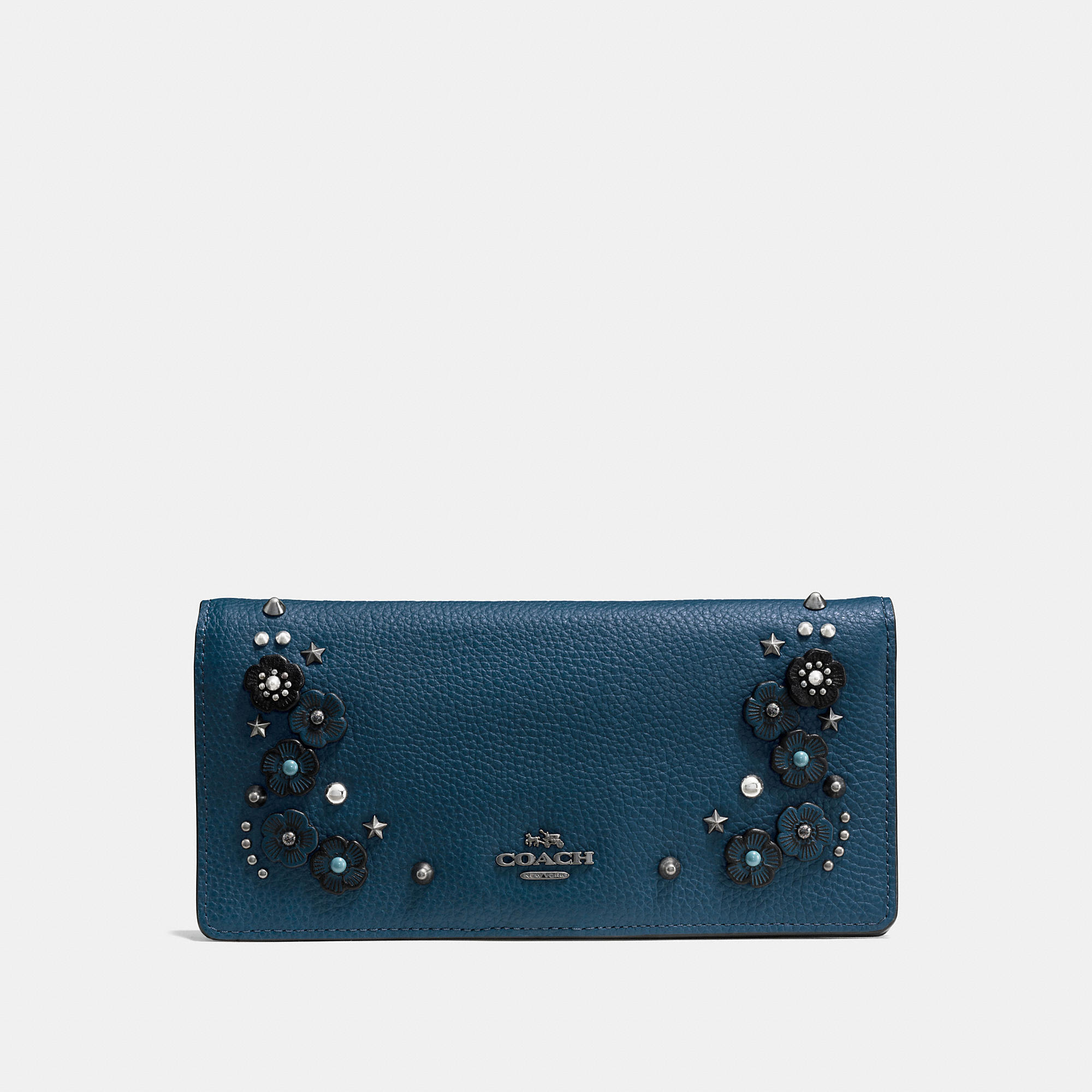 Coach Slim Wallet In Polished Pebble Leather With Willow Floral Detail