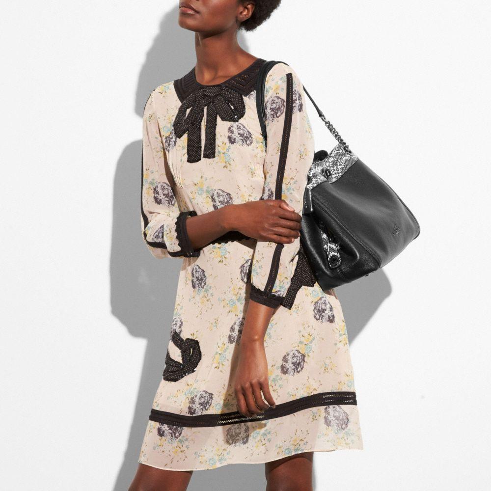 Turnlock Edie Shoulder Bag in Colorblock Mixed Materials - Alternate View A3