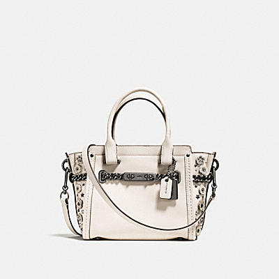 COACH SWAGGER 21 IN GLOVETANNED LEATHER WITH WILLOW FLORAL