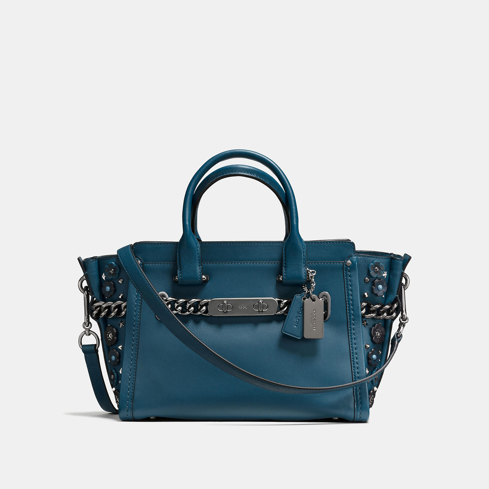 Coach Swagger 27 In Glovetanned Leather With Willow Floral Detail