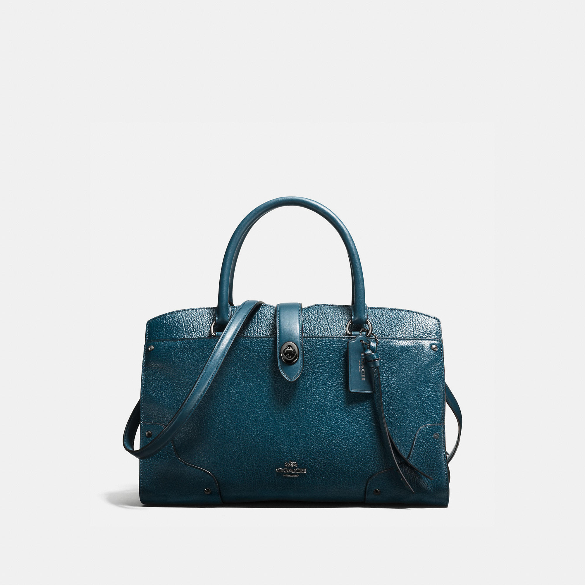 Coach Mercer Satchel 30 In Mixed Leathers With Whiplash Detail