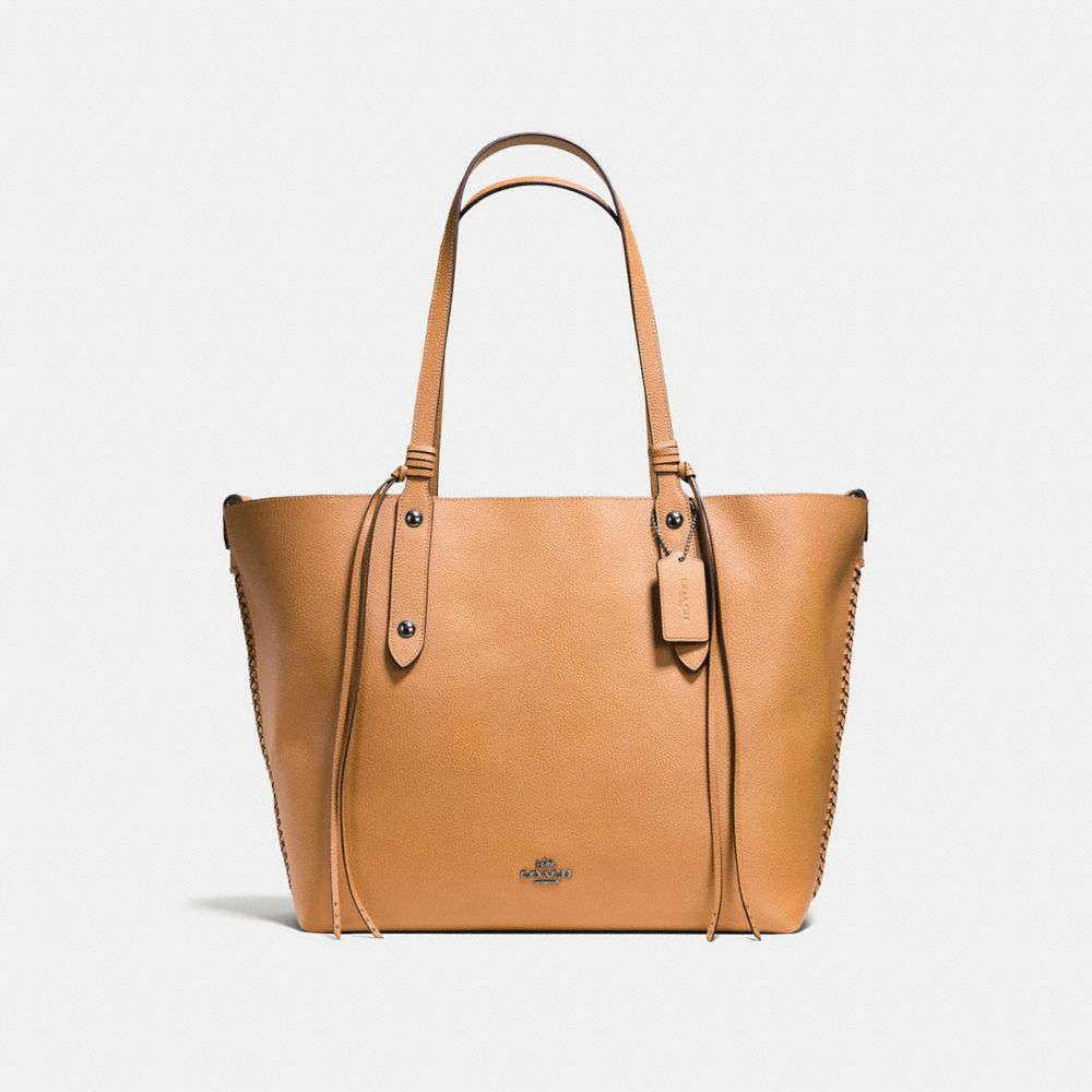 LARGE MARKET TOTE IN POLISHED PEBBLE LEATHER WITH WHIPLASH DETAIL