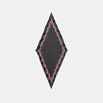 玫瑰飾邊印花絲質絲巾
