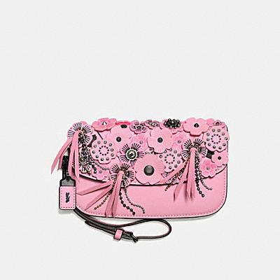 茶香玫瑰立體貼花手拿包