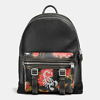 FLAG BACKPACK IN WILD LILY PRINT LEATHER
