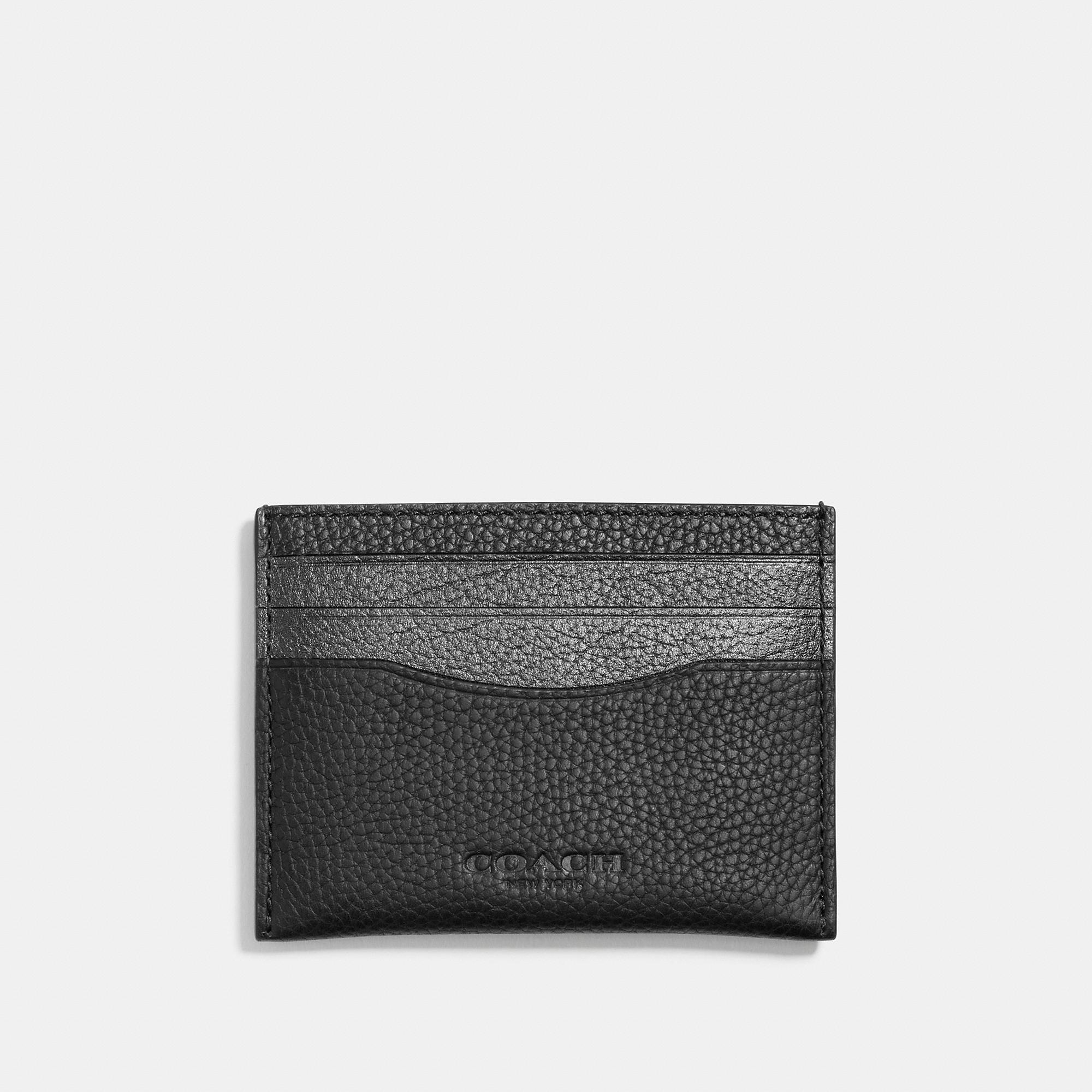 Coach Card Case In Metallic Leather