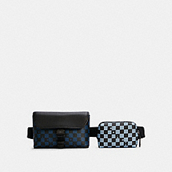 RIDER DOUBLE BELT BAG WITH CHECKER PRINT - QB/TRUE BLUE MULTI - COACH 5934